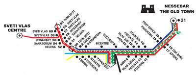 Маршрут движения автобуса №5 Несебр - Свети Влас - Несебр
